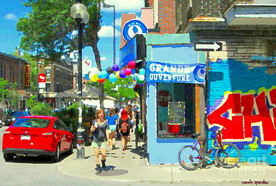 Painting - Grand Opening Blue Boy Frozen Yogurt Icecream Mont Royal Colorful Cafe Corner Montreal Art C Spandau by Carole Spandau