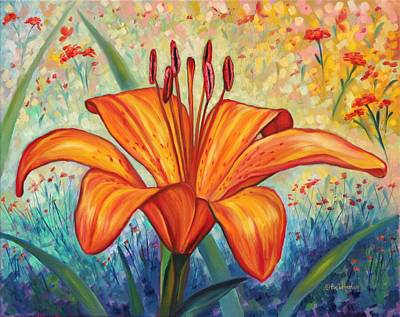 Tiger Lily Painting - Grand Opening  by Eve  Wheeler
