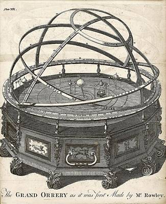 Grand Orrery By John Rowley Art Print by The General Magazine Of Arts And Sciences/new York Public Library