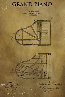 Classical Mixed Media - Grand Piano Patent by Dan Sproul