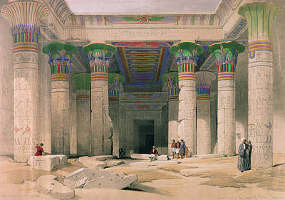 Entryway Painting - Grand Portico Of The Temple Of Philae, Nubia, From Egypt And Nubia, Engraved By Louis Haghe 1806-85 by David Roberts