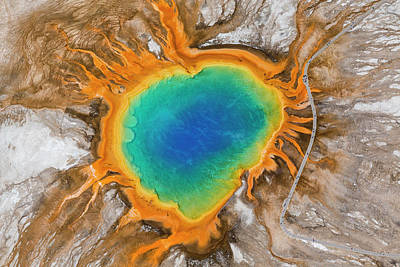 Grand Prismatic Spring, Midway Geyser Art Print by Peter Adams