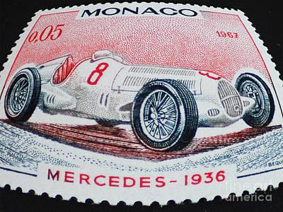 Grand Prix De Monaco 1936 Vintage Postage Stamp Print Art Print by Andy Prendy