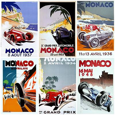 Grand Prix Of Monaco Vintage Poster Collage Art Print by Don Struke