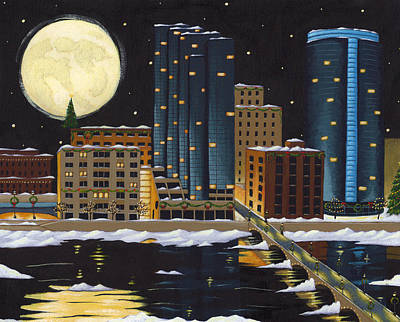 Full Moon Painting - Grand Rapids by Christy Beckwith