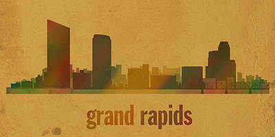 Rapid Mixed Media - Grand Rapids Michigan City Skyline Watercolor On Parchment by Design Turnpike