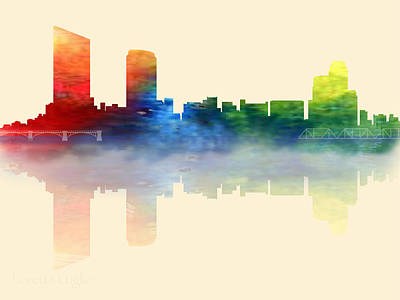 Digital Art - Grand Rapids Michigan Skyline 2 by Loretta Luglio