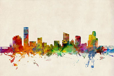 Michigan Digital Art - Grand Rapids Michigan Skyline by Michael Tompsett