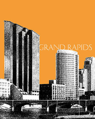 Pen Digital Art - Grand Rapids Skyline - Orange by DB Artist
