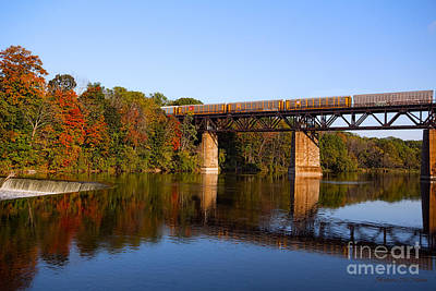 Photograph - Grand River Autumn Freight Train by Barbara McMahon