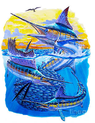 Blue Marlin Painting - Grand Slam Baitball by Carey Chen