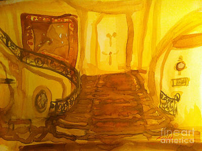 Antique Ironwork Painting - Grand Staircase And Tapestry by Sandra Stone