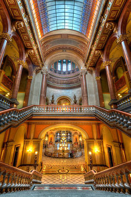 Staircase Photograph - Grand Staircase Illinois State Capitol by Steve Gadomski