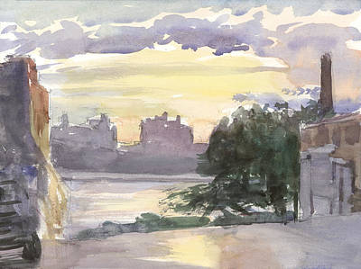New York City Painting - Grand Street Sunset by Walter Lynn Mosley