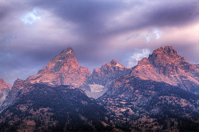 Photograph - Grand Teton In Morning Clouds by Alan Vance Ley