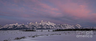 Photograph - Grand Teton Moonset by Sandra Bronstein