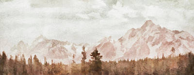 Art Print featuring the painting Grand Teton Mountains by Greg Collins