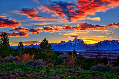 Mountain Royalty-Free and Rights-Managed Images - Grand Teton Sunset by Greg Norrell