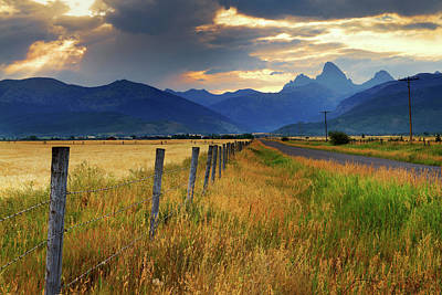 Barbed Wire Wall Art - Photograph - Grand Tetons At Sunrise From Driggs by Anna Gorin