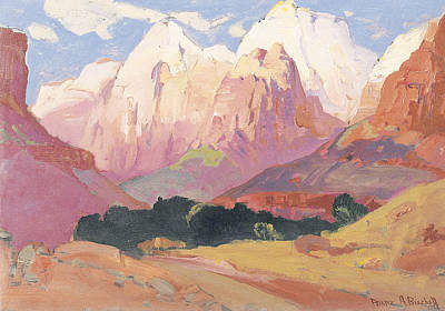 The Tetons Painting - Grand Tetons by Franz A Bischoff