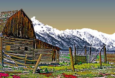Yellowstone Digital Art - Grand Tetons-mormon Row 11 by Linda  Parker