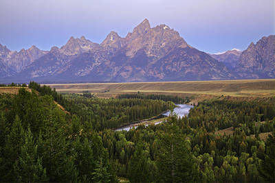 Photograph - Grand Tetons Morning At The Snake River Overview by Alan Vance Ley