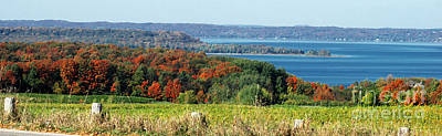 Autumn Landscape Mixed Media - Grand Traverse Winery Lookout by Optical Playground By MP Ray