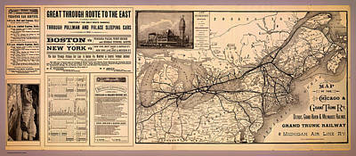 1880s Drawing - Grand Trunk Railway Map 1887 by Mountain Dreams