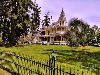 Photograph - Grand Yellow Victorian And Gate by Becky Lupe