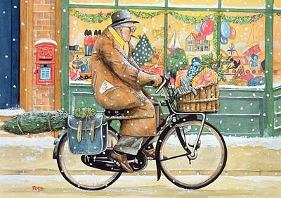 Shop Window Painting - Grandad Is Coming For Christmas by Tony Todd