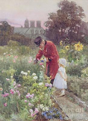 Granddaughter Painting - Grandads Garden by Rose Maynard Barton