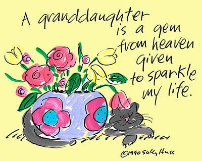 Vase Of Flowers Drawing - Granddaughter Gem by Sally Huss