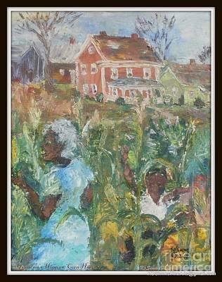 Cornstalks Painting - Grandma Higgins Corn Harvest by Keith OBrien Simms