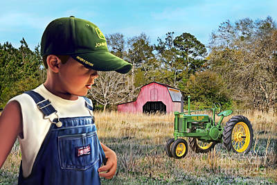 Painting - Grandma Say Nothin Runs Like A Deere by Linda Gleason Ritchie