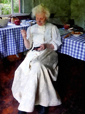 Checkered Tableclothes Photograph - Grandma Sewing by Susan Savad