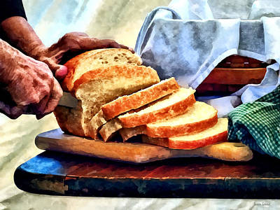 Photograph - Grandma Slicing Bread by Susan Savad