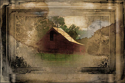Grandma's Attic - The Old Barn - Featured Image In Barns Big And Small Art Print by EricaMaxine  Price