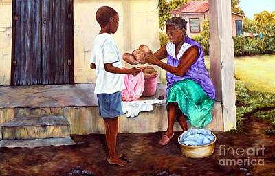 Art Print featuring the painting Grandma's Creole Bread by Anna-maria Dickinson
