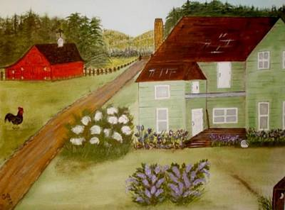 Art Print featuring the painting Grandmas Farm by Cindy Micklos