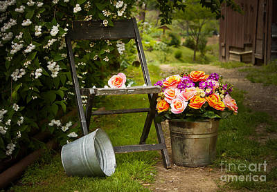 Folding Chair Photograph - Grandma's Flowers by Lena Auxier