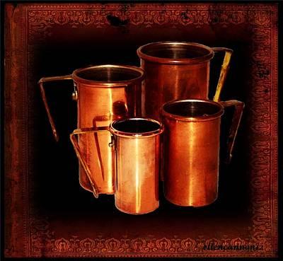 Grandma's Kitchen-copper Measuring Cups Art Print by Ellen Cannon