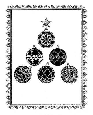 Drawing - Grandmas Ornaments Original by E B Schmidt