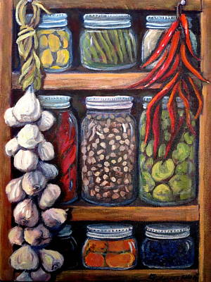 Green Beans Painting - Grandma's Pantry by Gretchen Allen