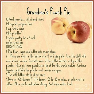Digital Art - Grandma's Peach Pie Recipe by Mindy Bench