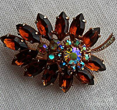 Grandmas Topaz Brooch - Treasured Heirloom Print by Barbara Griffin