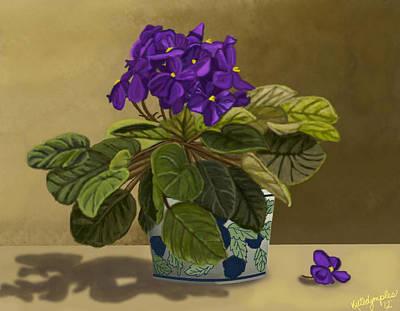 Fuzzy Digital Art - Grandma's Violets by Susie LaLonde