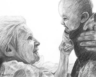 Drawing - Grandmother And Child by Kate Sumners
