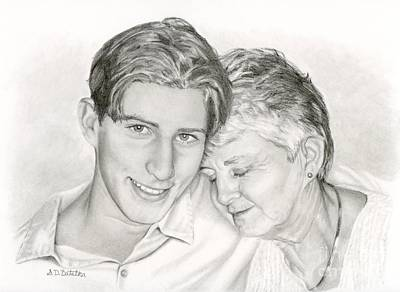 Smiling Drawing - Grandmother And Grandson by Sarah Batalka