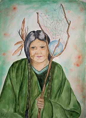 Recently Sold - Landmarks Painting Royalty Free Images - Grandmother Spiderwoman Royalty-Free Image by Carrie Viscome Skinner