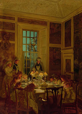 Meal Painting - Grandmothers Birthday by John Henry Lorimer